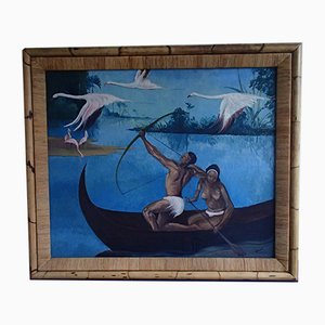 Artmed, Art Deco Pavatex, South Sea Canoe and Flamingo, Oil Painting with Bamboo Frame