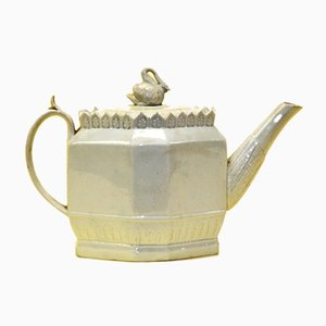 English Octagonal Lead-Glazed Earthenware Teapot with Swan Finial by Thomas Harley, 1800
