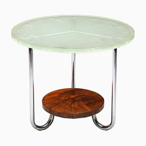 Art Deco Rosewood Occasional Table with Thick Etched Glass Top, 1930s