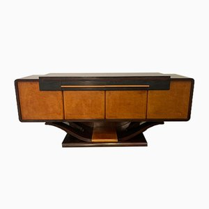 Art Deco Briarwood and Abanizzato Oak Sideboard with Arched Base, 1930s