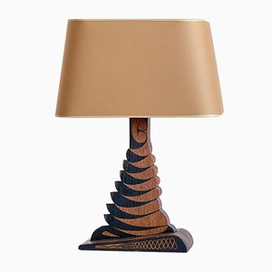 Batiked Oak Table Lamp with Yellow Gold Lampshade by Louis Bogtman, Netherlands, 1920s