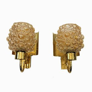Bubbles Wall Lamps with Golden Reflectors, 1970s, Set of 2