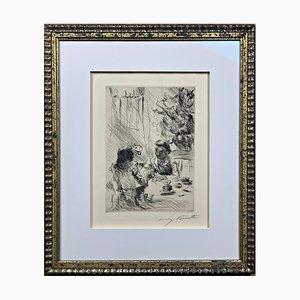Lovis Corinth, Unter dem Weihnachtsbaum, 1918, Autographierte Radierung
