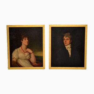 Antique 19th Century Oil Painting Portraits, Set of 2