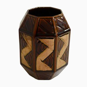 Mid-Century Copper-Colored Graphic Pattern Octagonal Vase from Saint-Clément