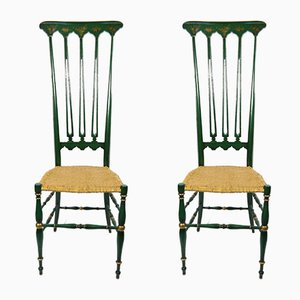 Cane Seat Chiavari Dining Chairs, 1950s, Set of 2