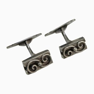 Silver Cufflinks Initialed H.J., 1960s, Set of 2