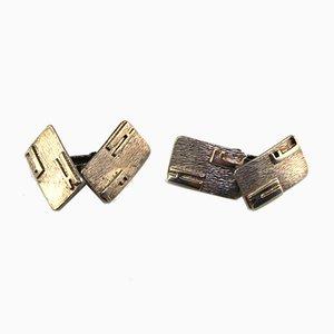 Silver Cufflinks Initialed H.E., 1960s, Set of 2