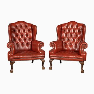 20th Century English Leather Wing Back Armchairs, 1970s, Set of 2