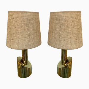 Italian Brass Half-Cylinder Table Lamps, 1970s, Set of 2