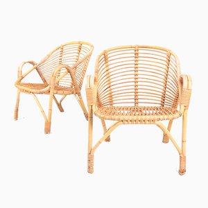 Mid-Century Danish Bamboo Lounge Chairs, 1950s, Set of 2