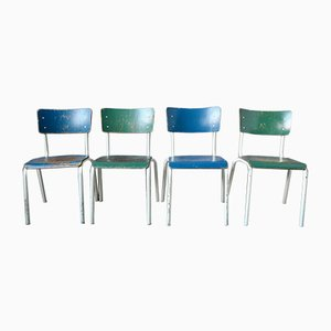 Industrial 2-Tone Dining Chairs, 1970s, Set of 4