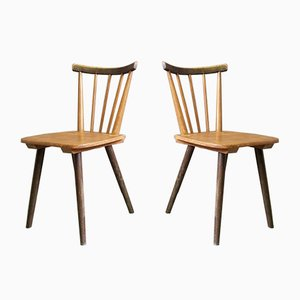 Scandinavian Rustic Dining Chairs, 1940s, Set of 2