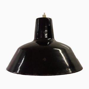 Industrial Workshop Black Enamel Pendant Lamp, 1930s