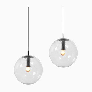 Large Glass Bubble Globe Pendant Lights, 1960s, Set of 2