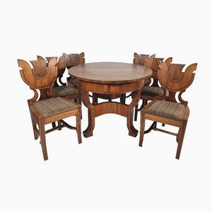 Set da pranzo e sedie Art Déco, anni '40, set di 7