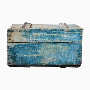 Industrial Patinated Wooden Trunk from Lille et Bonnières, 1940s