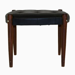 Vintage Swedish Leather and Beech Ottoman, 1960s