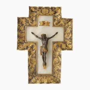 Antikes Französisches Alabaster Kruzifix, 1880er