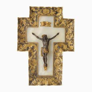 Antique French Alabaster Crucifix, 1880s
