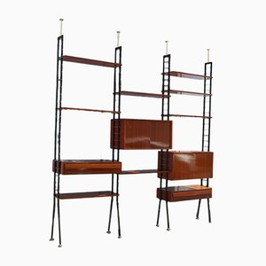 Italian Teak and Brass Bookcase, 1960s