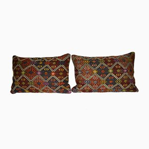 Turkish Jajim Lumbar Kilim Cushion Covers, Set of 2