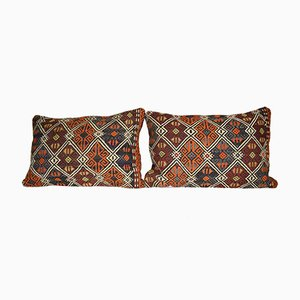Turkish Jajim Kilim Cushion Covers, Set of 2