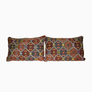 Vintage Turkish Oblong Wool Traditional Rustic Pattern Cushion Covers, Set of 2