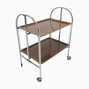 Chrome and Laminated Wood Folding Serving Trolley, 1950s