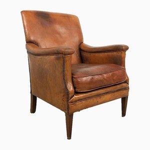 Vintage Cognac Sheep Leather Armchair