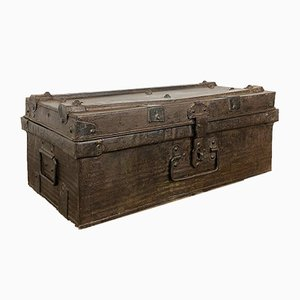 Vintage Industrial Metal Brown Trunk