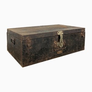 Vintage Industrial Metal Trunk Black