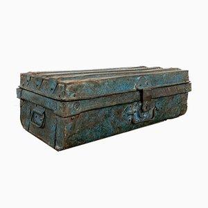 Vintage Industrial Metal Trunk Dark Blue