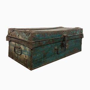 Vintage Industrial Metal Trunk Blue