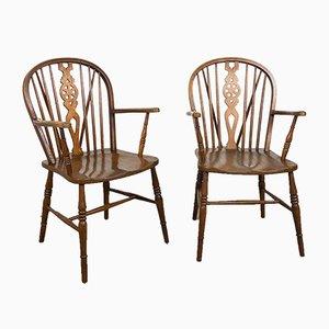 Oak Wooden Windsor Armchairs, Set of Two