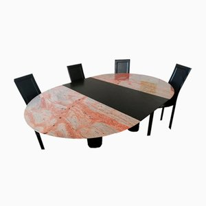 Marble And Ash Wood Extending Dining Table and Chairs, Set of 6