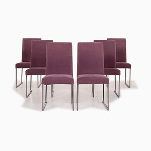 Lilac Velvet Lounge Chairs by Antonio Citterio for B&B Italia, Set of 6