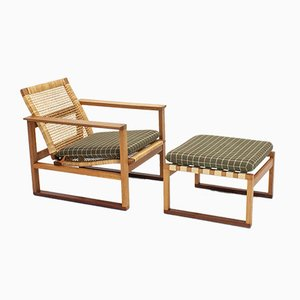 Børge Mogensen 2256 Oak Sled Lounge Chair with Footstool, 1950s, Set of 2