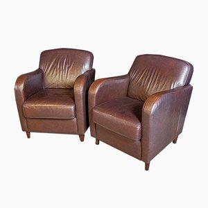 Vintage Dark Brown Leather Sofas