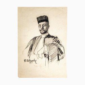 Paul Charles Delaroche, Portrait, Drawing in Pencil, 1910