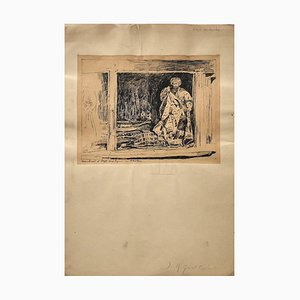 Jean Albert Grand-Carteret, Merchant, Drawing in Pen, 20th Century