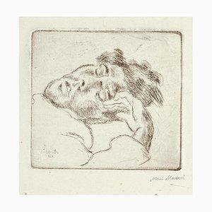Mino Maccari, Sleeping Man, Radierung, 1930er