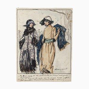 Luigi Bompard, Elegant Ladies, Watercolored Ink, 20th Century