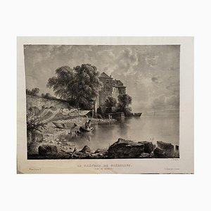 Antonio Fontanesi, Lac De la Geneve, Lithographie, 19. Jahrhundert