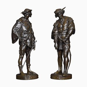 Bronze Figures of Soldiers by Emile Louis Picault, Set of 2