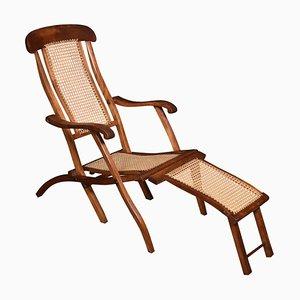 Silla de cubierta plegable antigua de nogal con marco de nogal