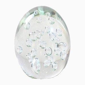 Fermacarte a forma di uovo in vetro soffiato a bolle, anni '60