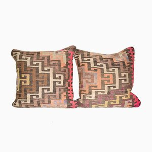 Turkish Geometric Kilim Cushion Covers, Set of 2