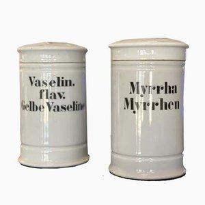 Antique Porcelain Pharmacist Jars, Set of 2