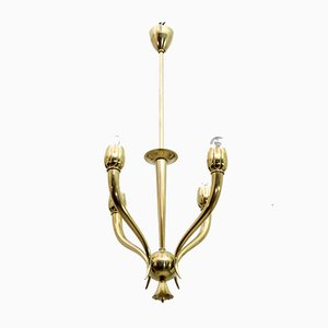 Art Deco Brass Ceiling Lamp by Guglielmo Ulrich, 1940s